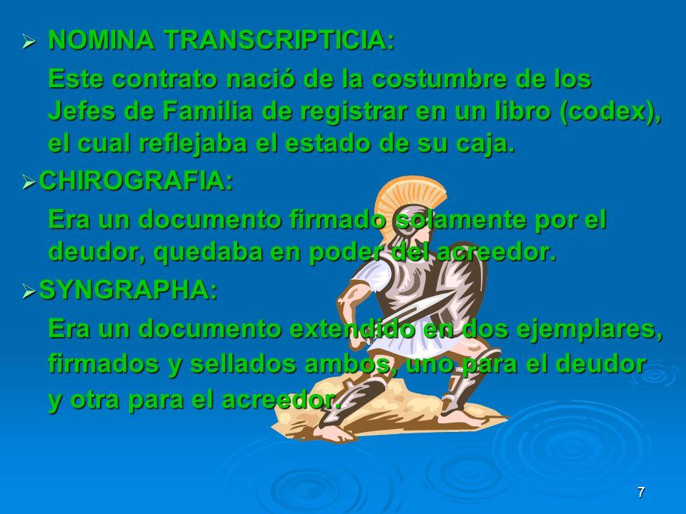 NOMINA TRANSCRIPTICIA: NOMINA TRANSCRIPTICIA: Este contrato nació de la costumbre de los Jefes de Familia de registrar en un libro (codex), el cual re