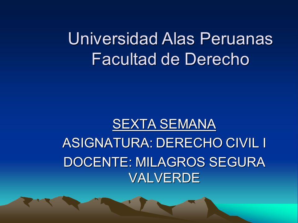 Universidad Alas Peruanas Facultad de Derecho SEXTA SEMANA ASIGNATURA: DERECHO CIVIL I DOCENTE: MILAGROS SEGURA VALVERDE
