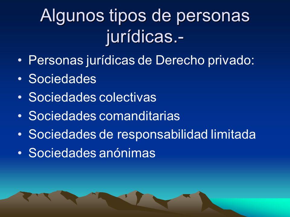 Algunos tipos de personas jurídicas.- Personas jurídicas de Derecho privado: Sociedades Sociedades colectivas Sociedades comanditarias Sociedades de r