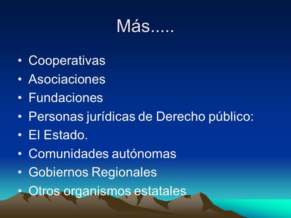 Más..... Cooperativas Asociaciones Fundaciones Personas jurídicas de Derecho público: El Estado. Comunidades autónomas Gobiernos Regionales Otros orga
