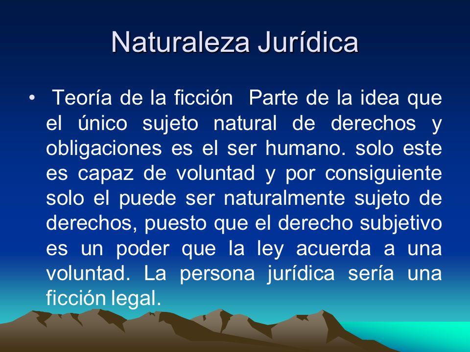 Naturaleza Jurídica Teoría de la ficción Parte de la idea que el único sujeto natural de derechos y obligaciones es el ser humano. solo este es capaz