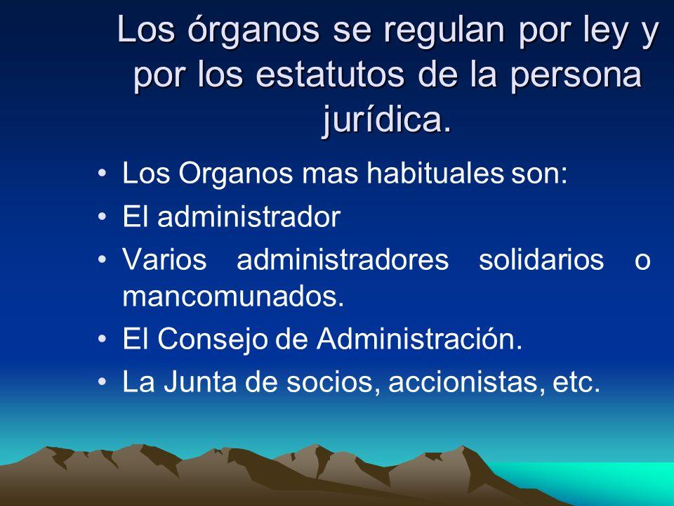 Los órganos se regulan por ley y por los estatutos de la persona jurídica. Los Organos mas habituales son: El administrador Varios administradores sol