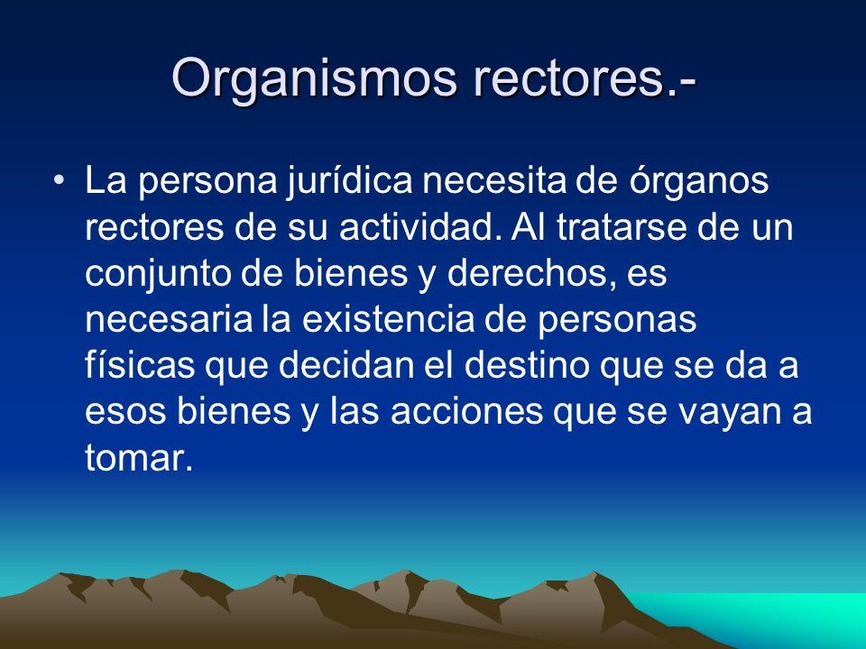 Organismos rectores.- La persona jurídica necesita de órganos rectores de su actividad. Al tratarse de un conjunto de bienes y derechos, es necesaria