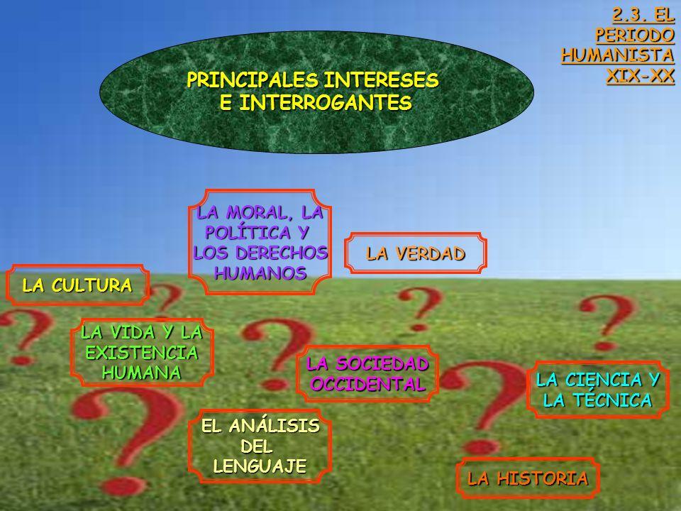 2.3. EL PERIODO HUMANISTAXIX-XX PRINCIPALES INTERESES E INTERROGANTES LA CULTURA LA SOCIEDAD OCCIDENTAL LA MORAL, LA POLÍTICA Y LOS DERECHOS HUMANOS L