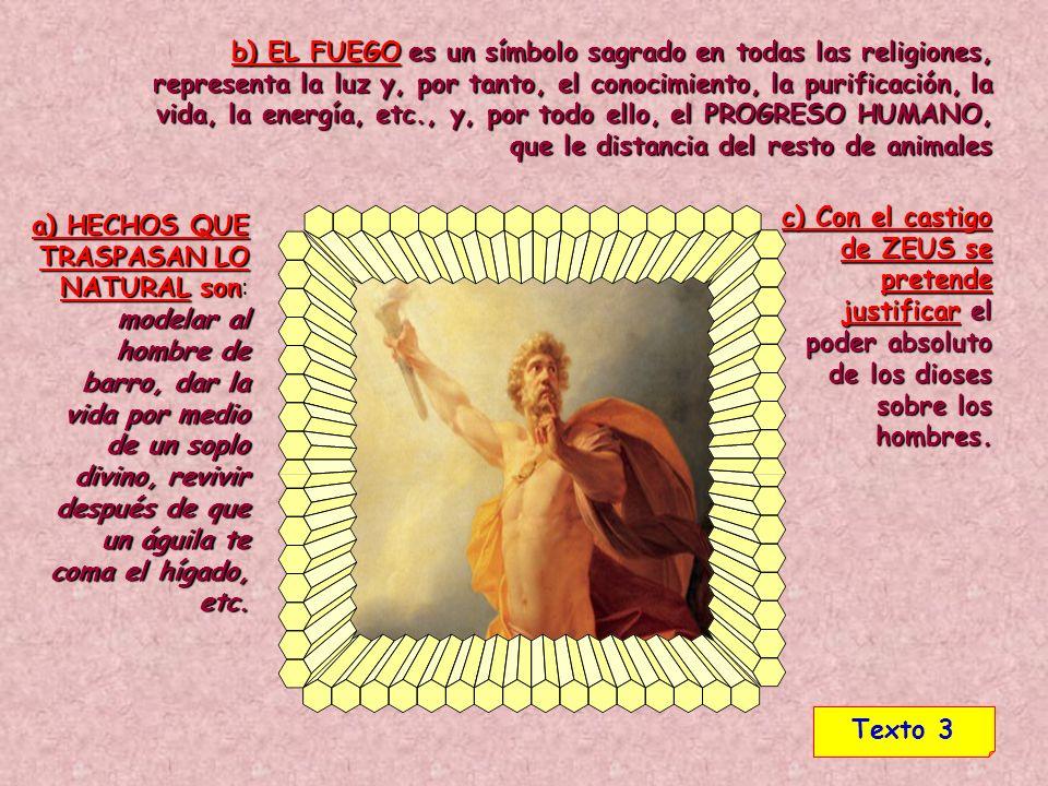 a) HECHOS QUE TRASPASAN LO NATURAL son: modelar al hombre de barro, dar la vida por medio de un soplo divino, revivir después de que un águila te coma