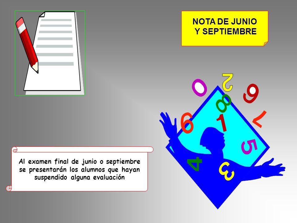 NOTA DE JUNIO Y SEPTIEMBRE Al examen final de junio o septiembre se presentarán los alumnos que hayan suspendido alguna evaluación