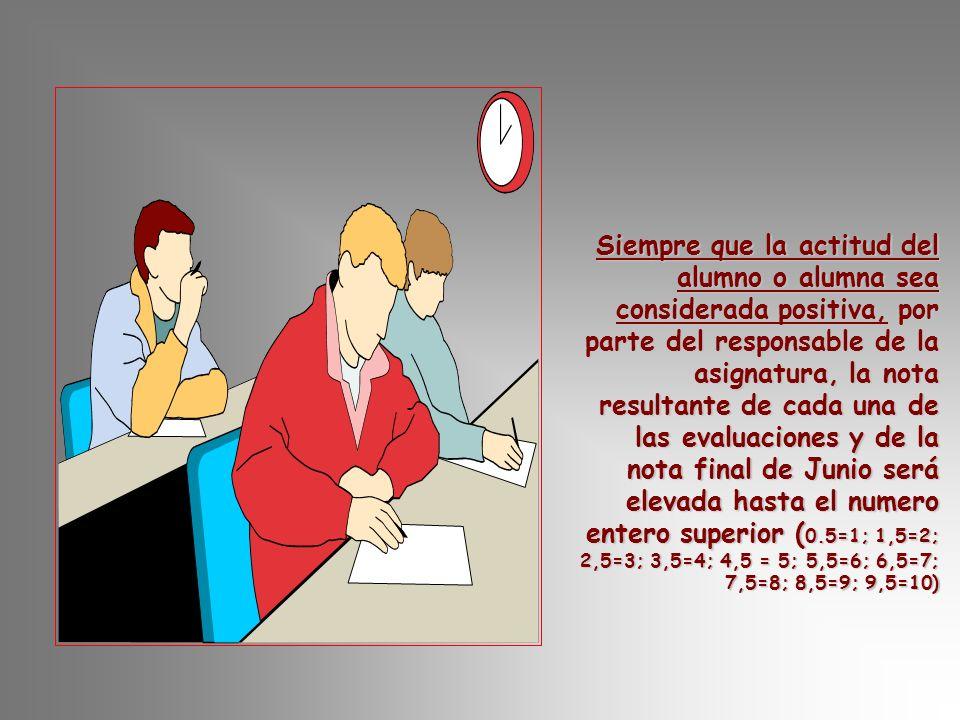 Siempre que la actitud del alumno o alumna sea considerada positiva, por parte del responsable de la asignatura, la nota resultante de cada una de las