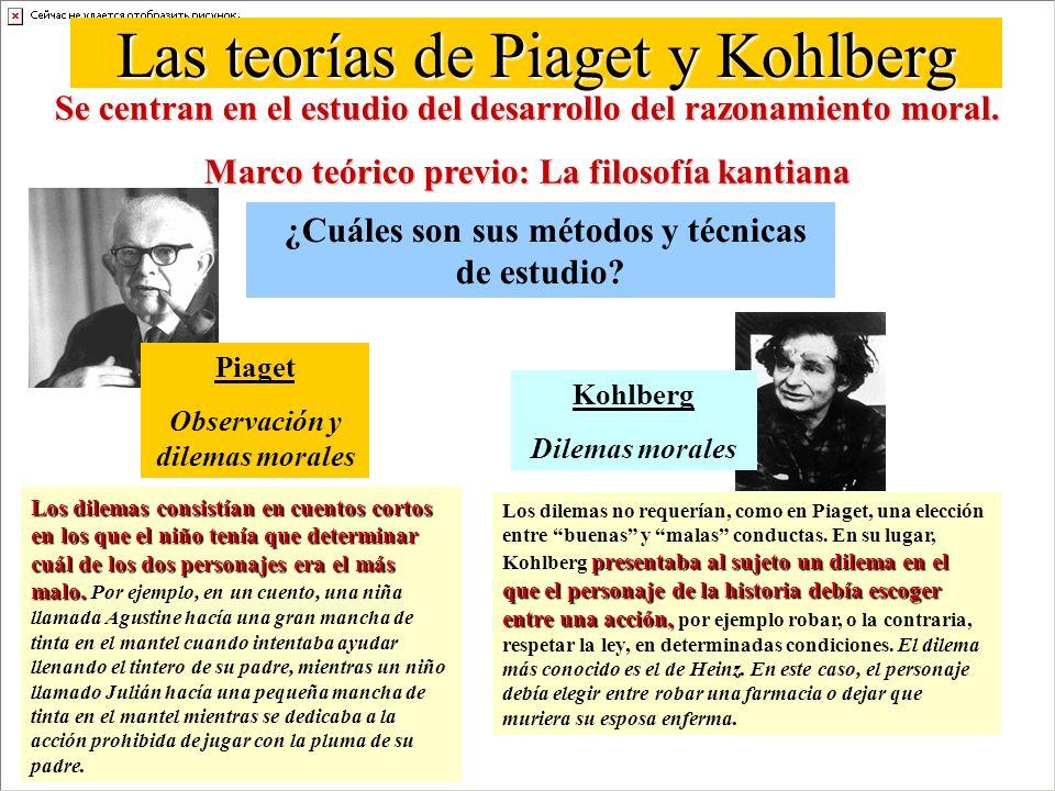 Las teorías de Piaget y Kohlberg Se centran en el estudio del desarrollo del razonamiento moral.