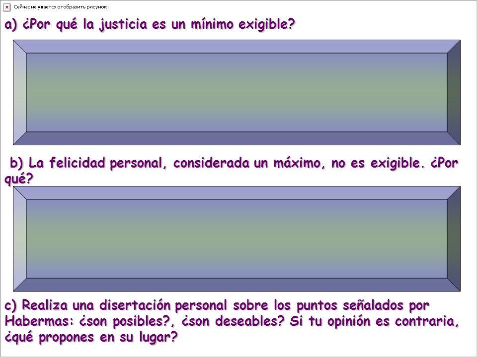 a) ¿Por qué la justicia es un mínimo exigible.
