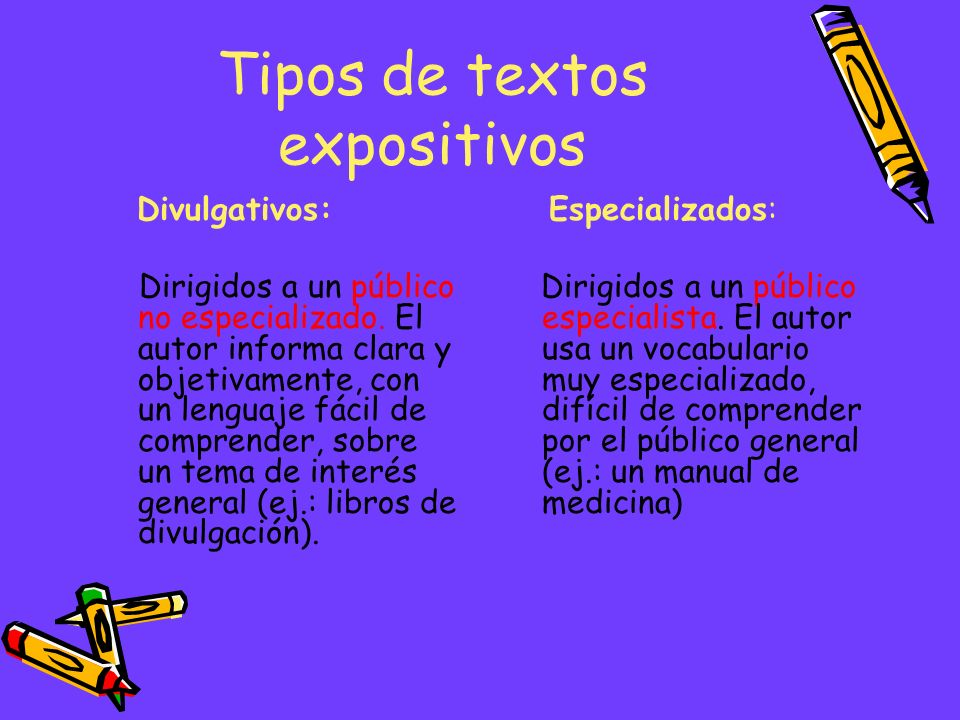 Un texto expositivo es un tipo de texto que aporta información, de forma organizada y objetiva sobre un tema concreto de la realidad. Puede ser oral (