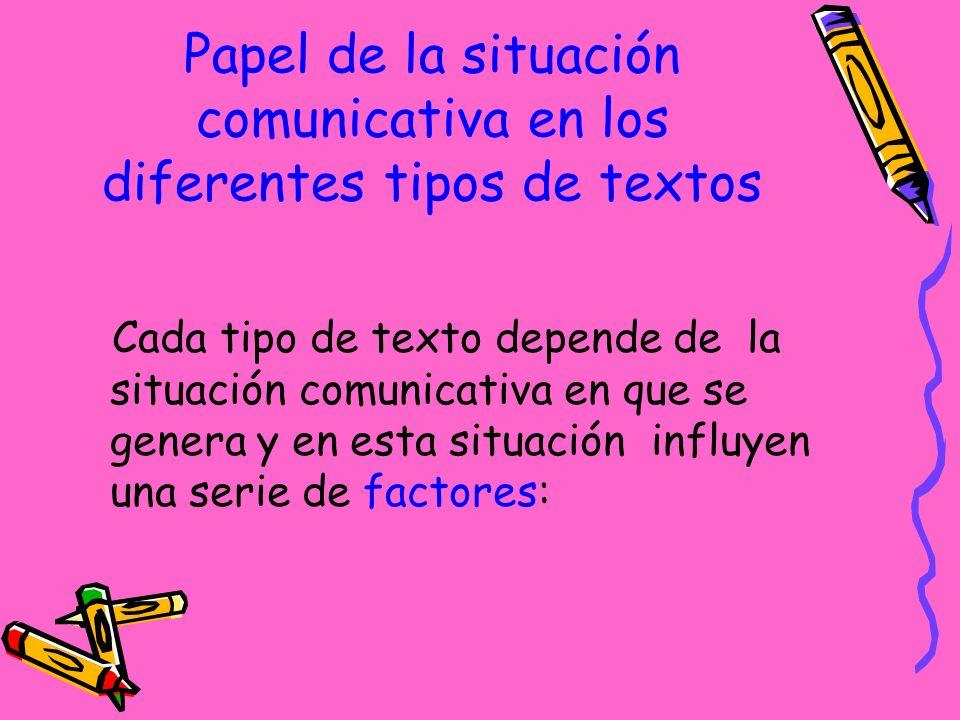 Cada tipo de texto depende de la situación comunicativa en que se genera y en esta situación influyen una serie de factores: Papel de la situación comunicativa en los diferentes tipos de textos