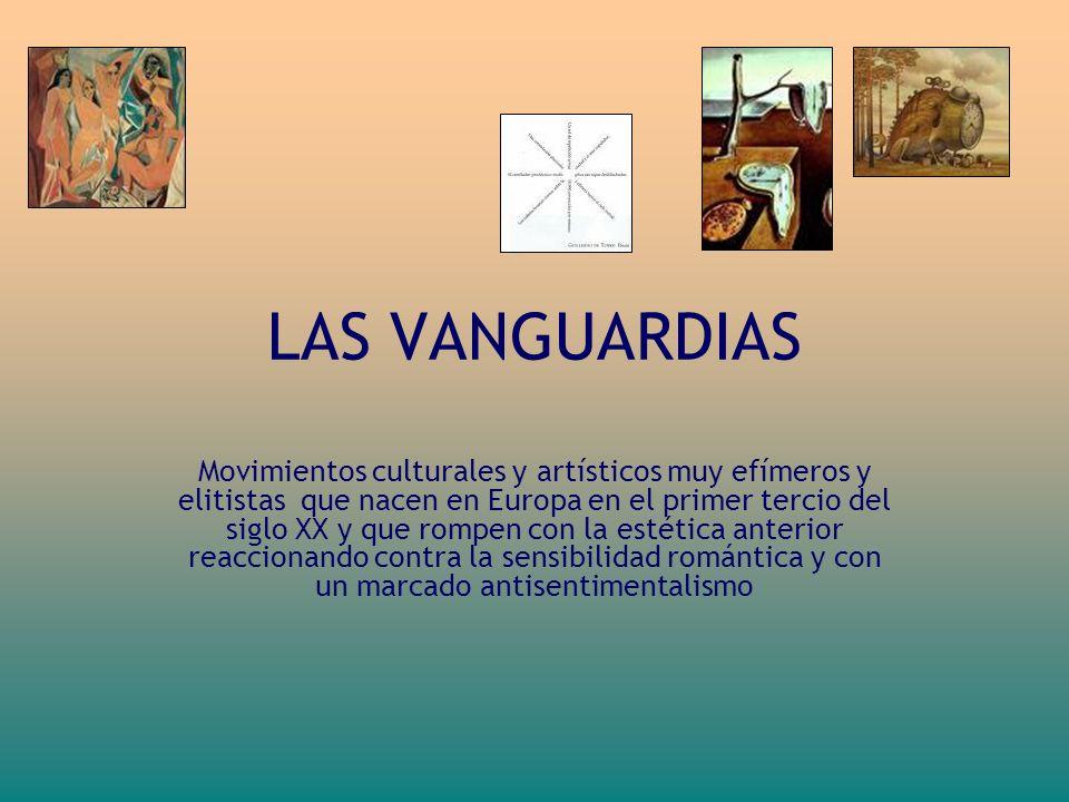 LAS VANGUARDIAS Movimientos culturales y artísticos muy efímeros y elitistas que nacen en Europa en el primer tercio del siglo XX y que rompen con la