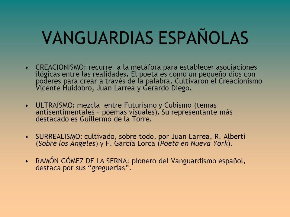 VANGUARDIAS ESPAÑOLAS CREACIONISMO: recurre a la metáfora para establecer asociaciones ilógicas entre las realidades. El poeta es como un pequeño dios