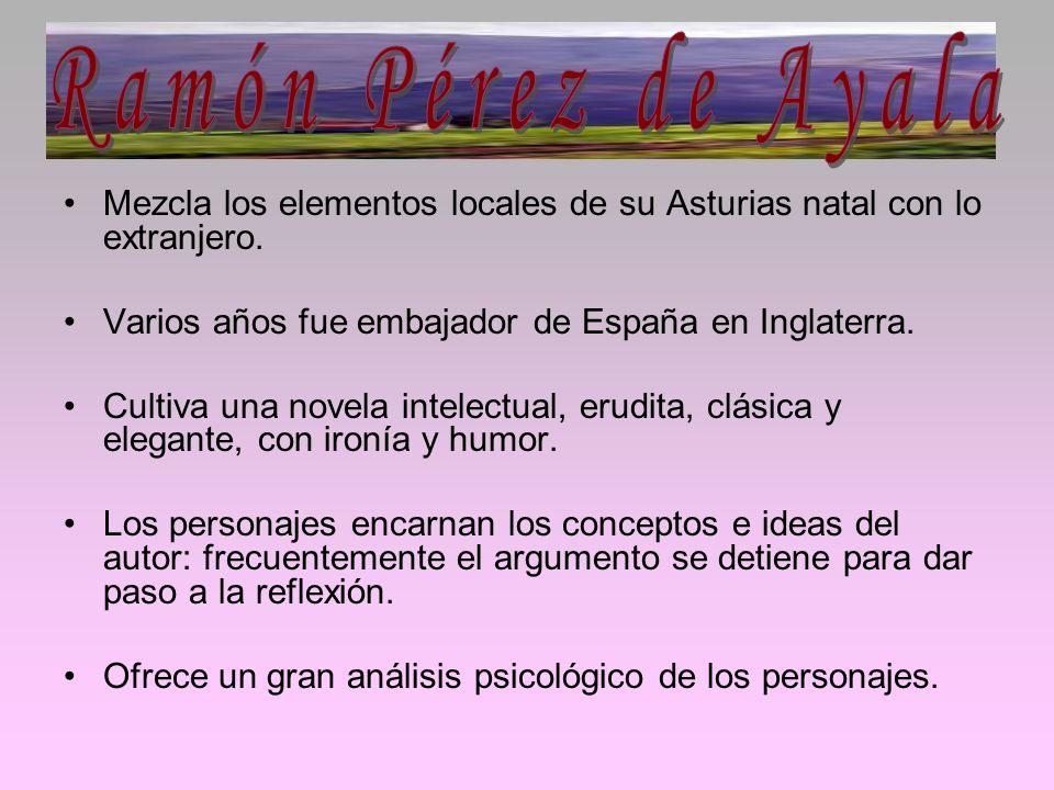 Mezcla los elementos locales de su Asturias natal con lo extranjero. Varios años fue embajador de España en Inglaterra. Cultiva una novela intelectual