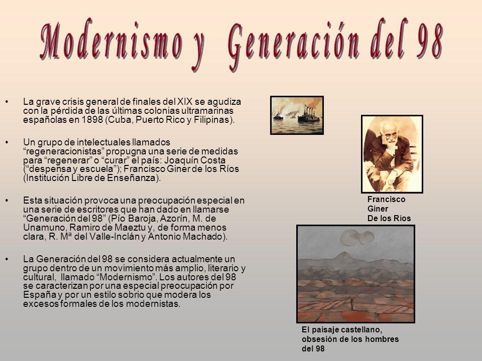La grave crisis general de finales del XIX se agudiza con la pérdida de las últimas colonias ultramarinas españolas en 1898 (Cuba, Puerto Rico y Filip
