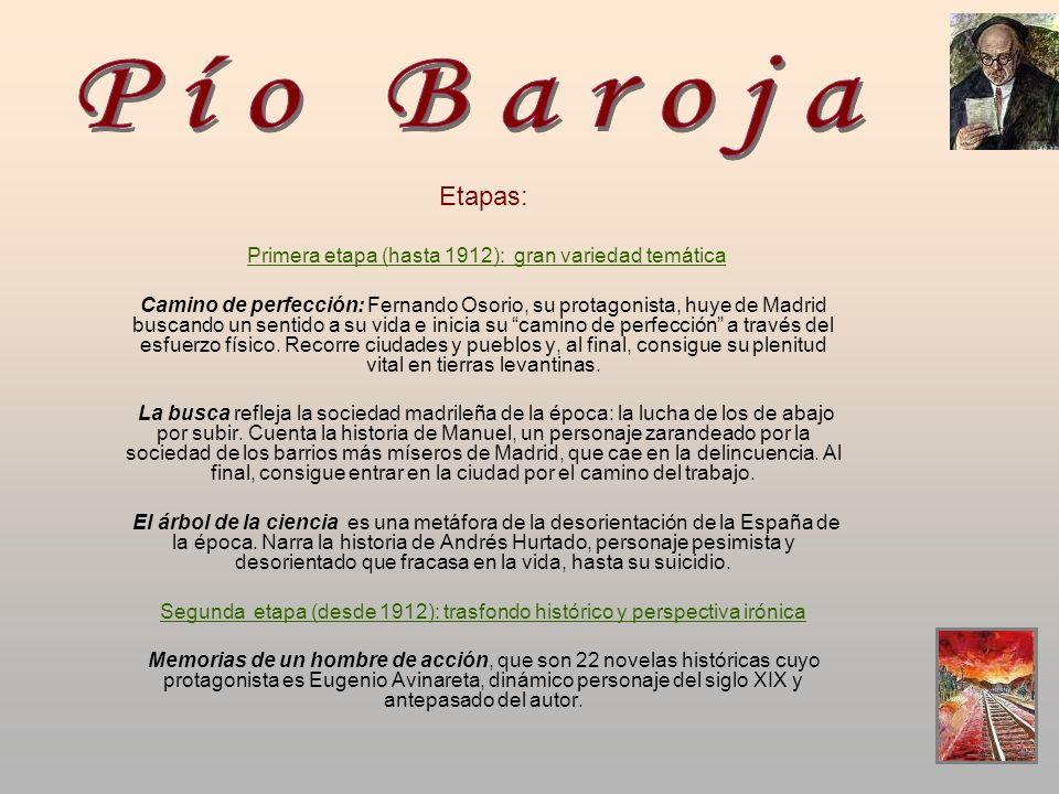 Etapas: Primera etapa (hasta 1912): gran variedad temática Camino de perfección: Fernando Osorio, su protagonista, huye de Madrid buscando un sentido