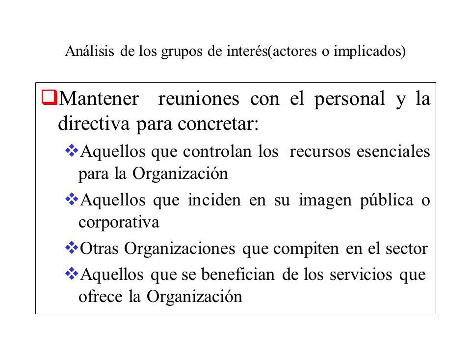 Análisis de los grupos de interés(actores o implicados) Mantener reuniones con el personal y la directiva para concretar: Aquellos que controlan los r