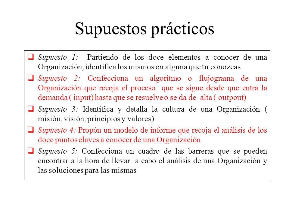Supuestos prácticos Supuesto 1: Partiendo de los doce elementos a conocer de una Organización, identifica los mismos en alguna que tu conozcas Supuest