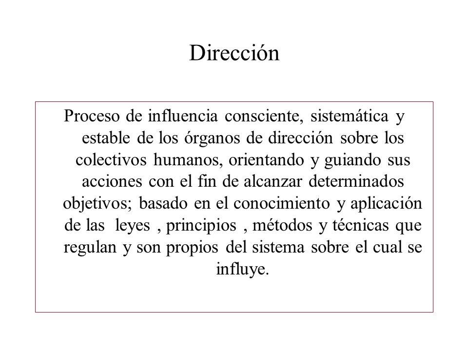 Dirección Proceso de influencia consciente, sistemática y estable de los órganos de dirección sobre los colectivos humanos, orientando y guiando sus a