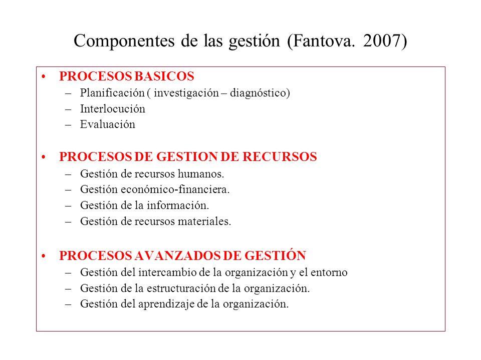 Componentes de las gestión (Fantova. 2007) PROCESOS BASICOS –Planificación ( investigación – diagnóstico) –Interlocución –Evaluación PROCESOS DE GESTI