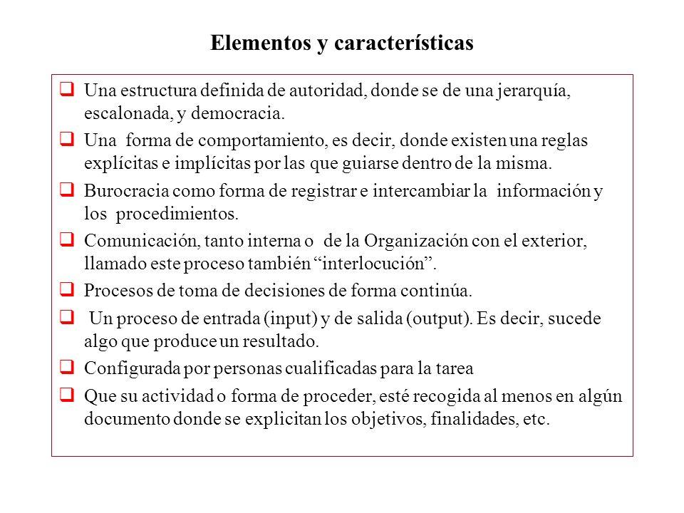 Elementos y características Una estructura definida de autoridad, donde se de una jerarquía, escalonada, y democracia. Una forma de comportamiento, es