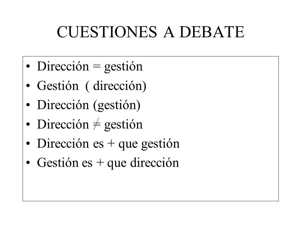 CUESTIONES A DEBATE Dirección = gestión Gestión ( dirección) Dirección (gestión) Dirección = gestión Dirección es + que gestión Gestión es + que direc