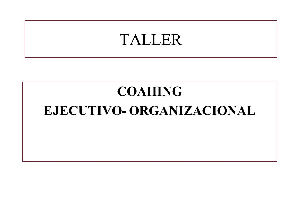 TALLER COAHING EJECUTIVO- ORGANIZACIONAL