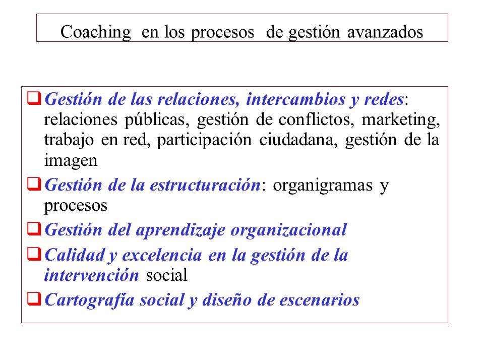 Coaching en los procesos de gestión avanzados Gestión de las relaciones, intercambios y redes: relaciones públicas, gestión de conflictos, marketing,