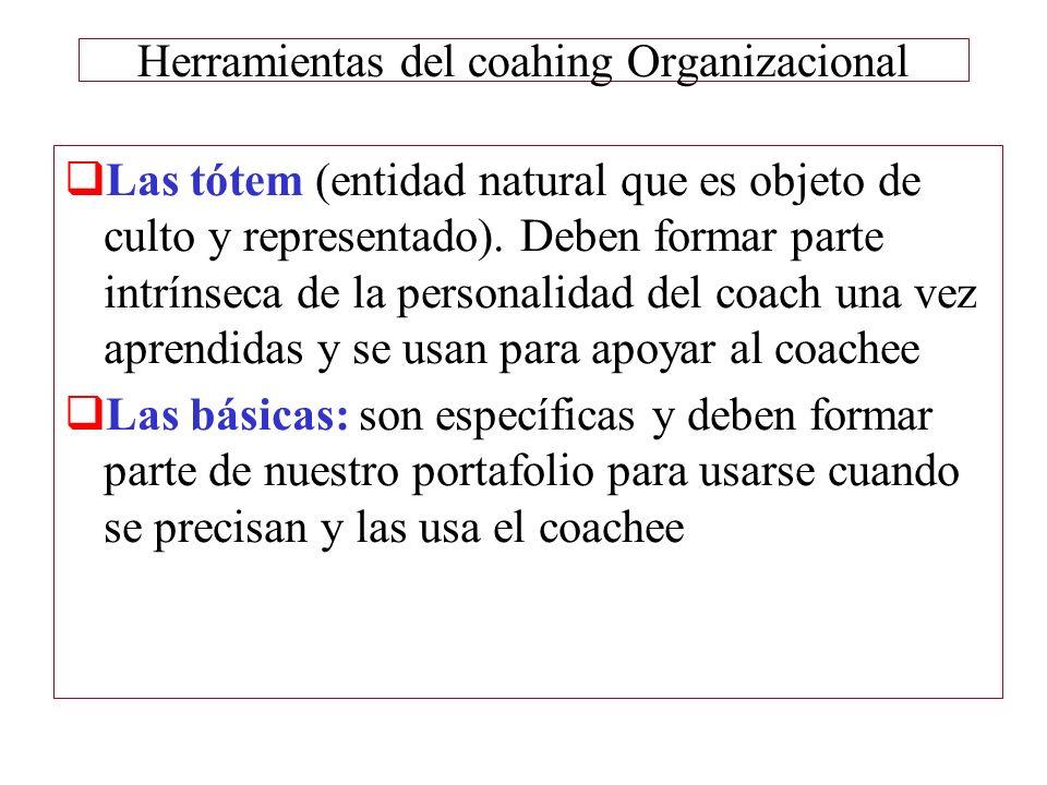 Herramientas del coahing Organizacional Las tótem (entidad natural que es objeto de culto y representado). Deben formar parte intrínseca de la persona