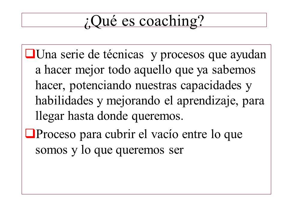 ¿Qué es coaching? Una serie de técnicas y procesos que ayudan a hacer mejor todo aquello que ya sabemos hacer, potenciando nuestras capacidades y habi