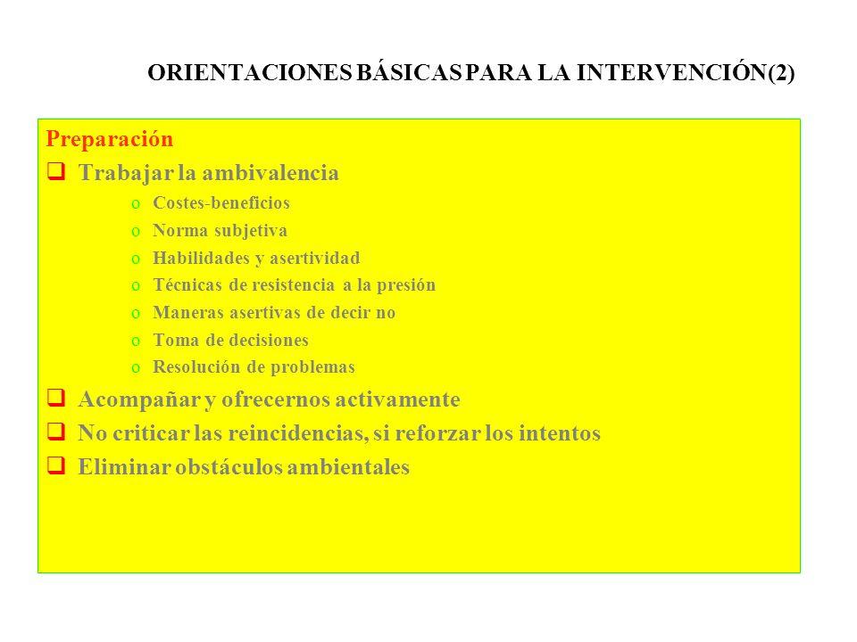 ORIENTACIONES BÁSICAS PARA LA INTERVENCIÓN(2) Preparación Trabajar la ambivalencia oCostes-beneficios oNorma subjetiva oHabilidades y asertividad oTéc