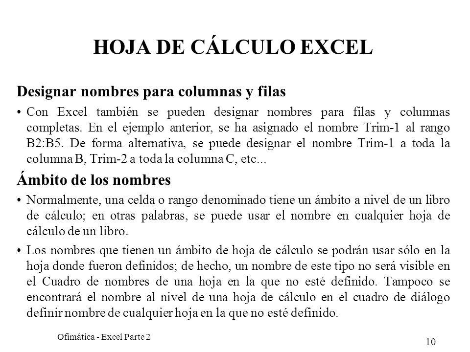 10 Ofimática - Excel Parte 2 HOJA DE CÁLCULO EXCEL Designar nombres para columnas y filas Con Excel también se pueden designar nombres para filas y co