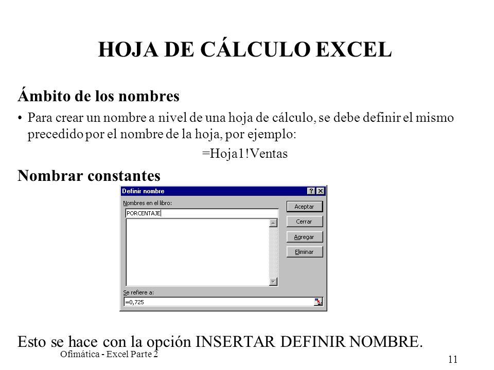 11 Ofimática - Excel Parte 2 HOJA DE CÁLCULO EXCEL Ámbito de los nombres Para crear un nombre a nivel de una hoja de cálculo, se debe definir el mismo