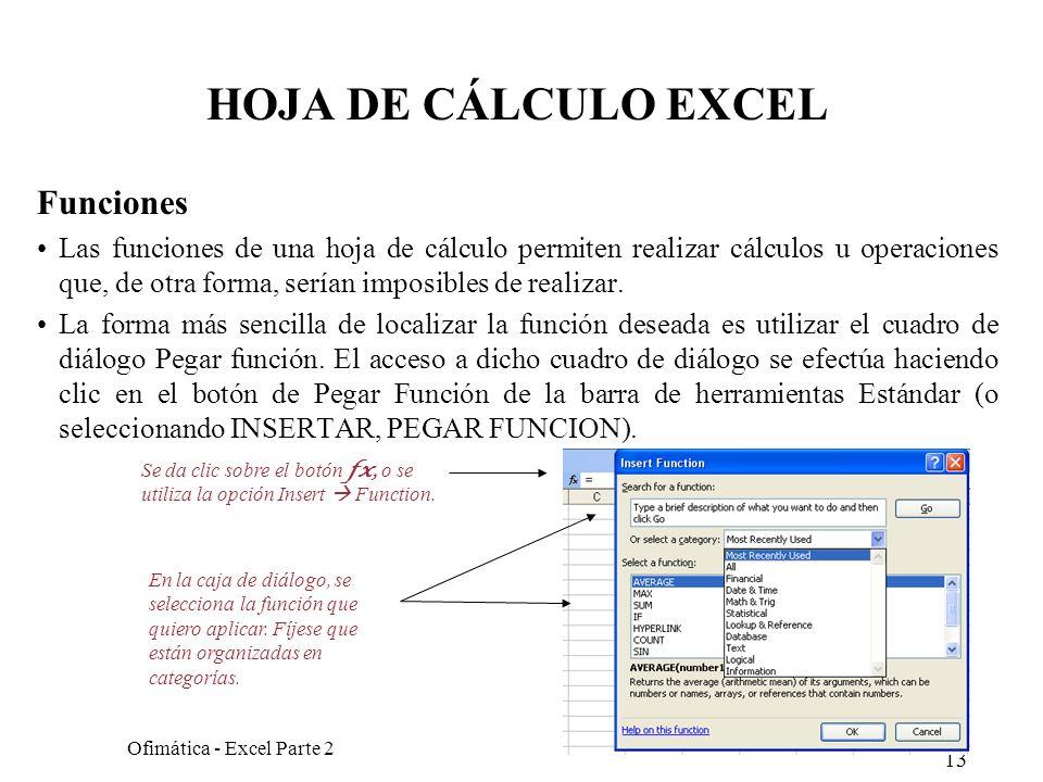 13 Ofimática - Excel Parte 2 HOJA DE CÁLCULO EXCEL Funciones Las funciones de una hoja de cálculo permiten realizar cálculos u operaciones que, de otr