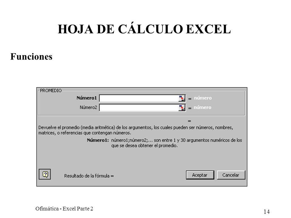 14 Ofimática - Excel Parte 2 HOJA DE CÁLCULO EXCEL Funciones