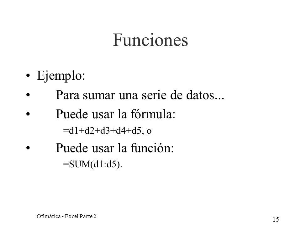15 Funciones Ejemplo: Para sumar una serie de datos... Puede usar la fórmula: =d1+d2+d3+d4+d5, o Puede usar la función: =SUM(d1:d5). Ofimática - Excel