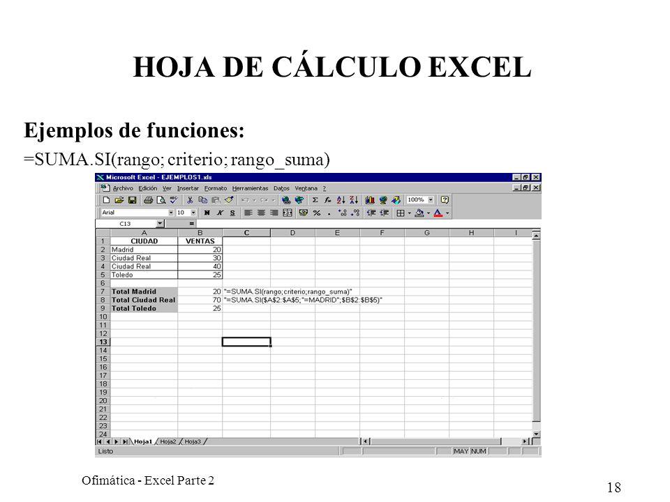 18 Ofimática - Excel Parte 2 HOJA DE CÁLCULO EXCEL Ejemplos de funciones: =SUMA.SI(rango; criterio; rango_suma)