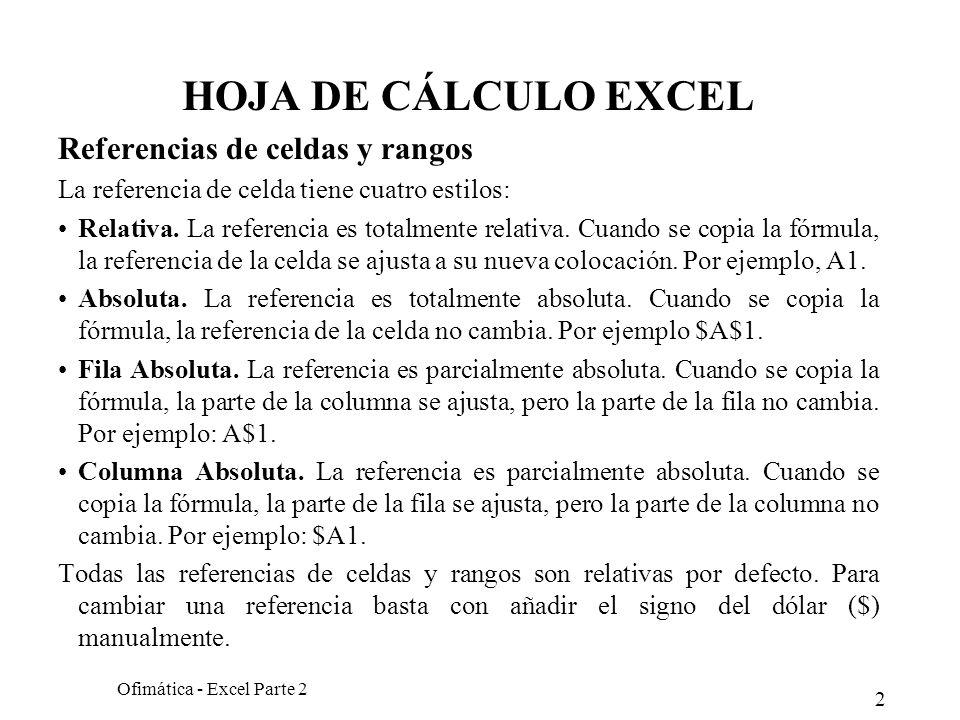 2 Ofimática - Excel Parte 2 HOJA DE CÁLCULO EXCEL Referencias de celdas y rangos La referencia de celda tiene cuatro estilos: Relativa. La referencia