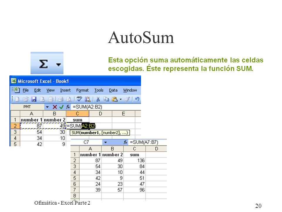 20 AutoSum Ofimática - Excel Parte 2