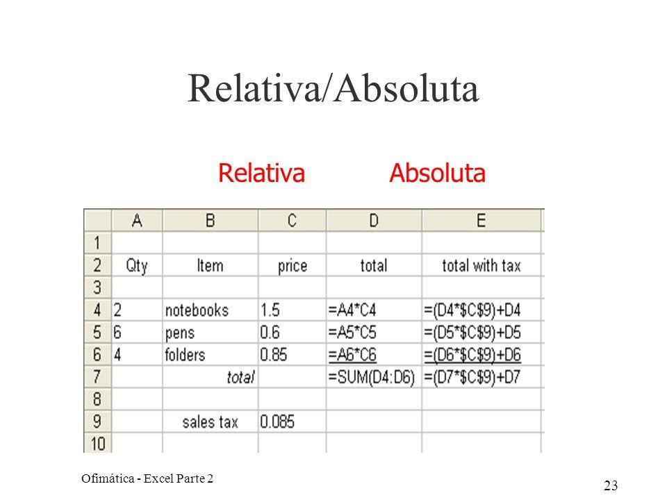 23 Relativa/Absoluta Ofimática - Excel Parte 2 Relativa Absoluta