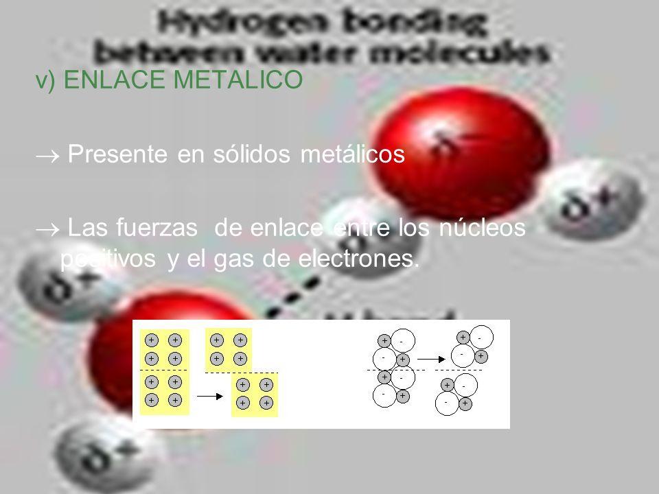 v) ENLACE METALICO Presente en sólidos metálicos Las fuerzas de enlace entre los núcleos positivos y el gas de electrones.