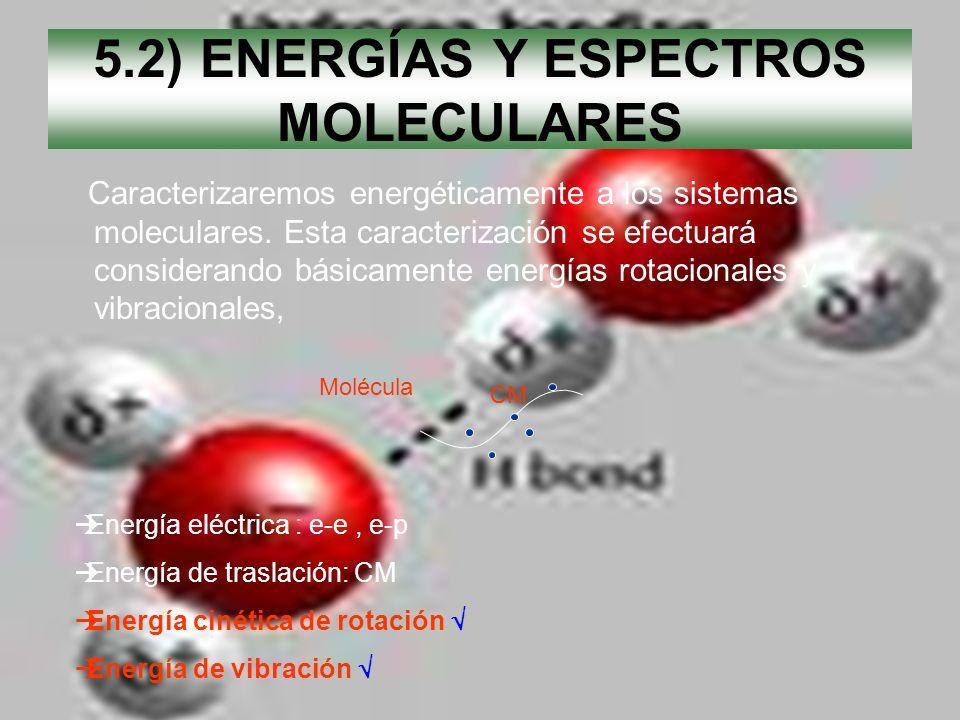 5.2) ENERGÍAS Y ESPECTROS MOLECULARES Caracterizaremos energéticamente a los sistemas moleculares. Esta caracterización se efectuará considerando bási