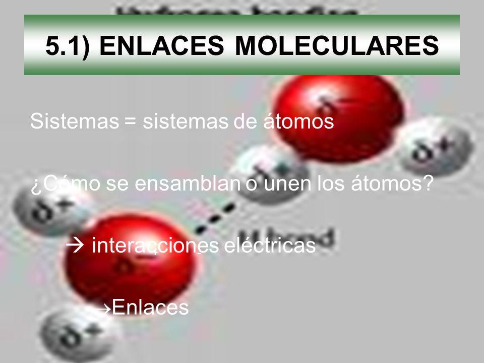 5.1) ENLACES MOLECULARES Sistemas = sistemas de átomos ¿Cómo se ensamblan o unen los átomos? interacciones eléctricas Enlaces + -