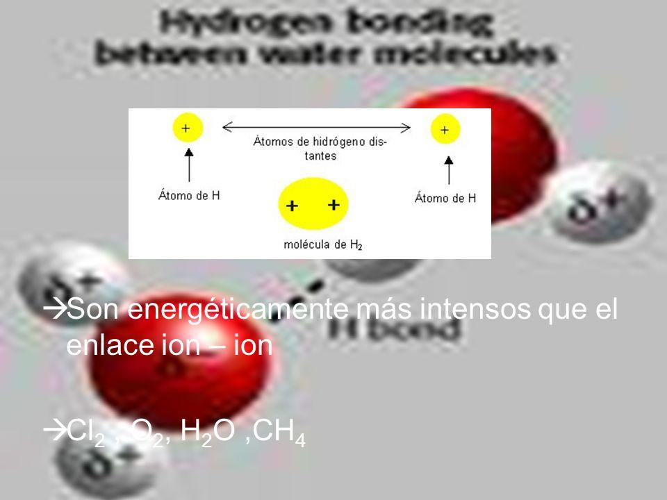 Son energéticamente más intensos que el enlace ion – ion Cl 2, O 2, H 2 O,CH 4