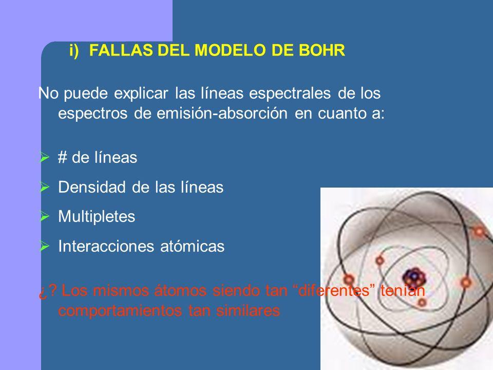 ii) NÚMEROS CUÁNTICOS j) NUMERO CUÁNTICO PRINCIPAL O ENERGÉTICO, n k) n Energía, cuantizar kk) kkk) n: 1,2,3,… jj) NUMERO CUÁNTICO ORBITAL, l k) l vinculado al L El L (o l )es un NO OBSERVABLE kk) ; l = 0,1,…., (n-1) kkk) l cuantización del espacio