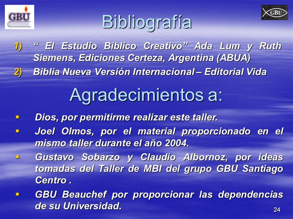 24Bibliografía 1) El Estudio Bíblico Creativo Ada Lum y Ruth Siemens, Ediciones Certeza, Argentina (ABUA) 2)Biblia Nueva Versión Internacional – Edito