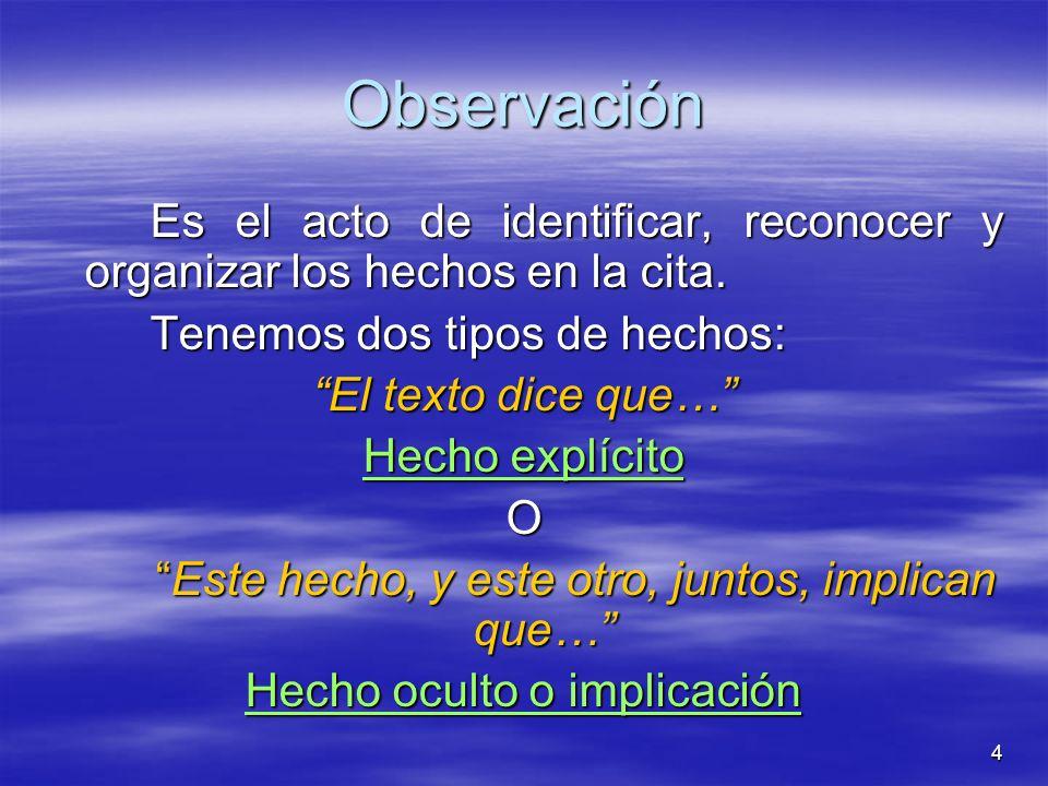 4 Observación Es el acto de identificar, reconocer y organizar los hechos en la cita. Tenemos dos tipos de hechos: El texto dice que… Hecho explícito