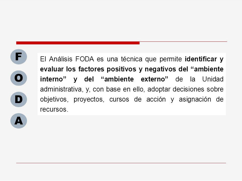 El Análisis FODA es una técnica que permite identificar y evaluar los factores positivos y negativos del ambiente interno y del ambiente externo de la
