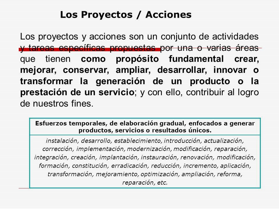 Los proyectos y acciones son un conjunto de actividades y tareas específicas propuestas por una o varias áreas que tienen como propósito fundamental c