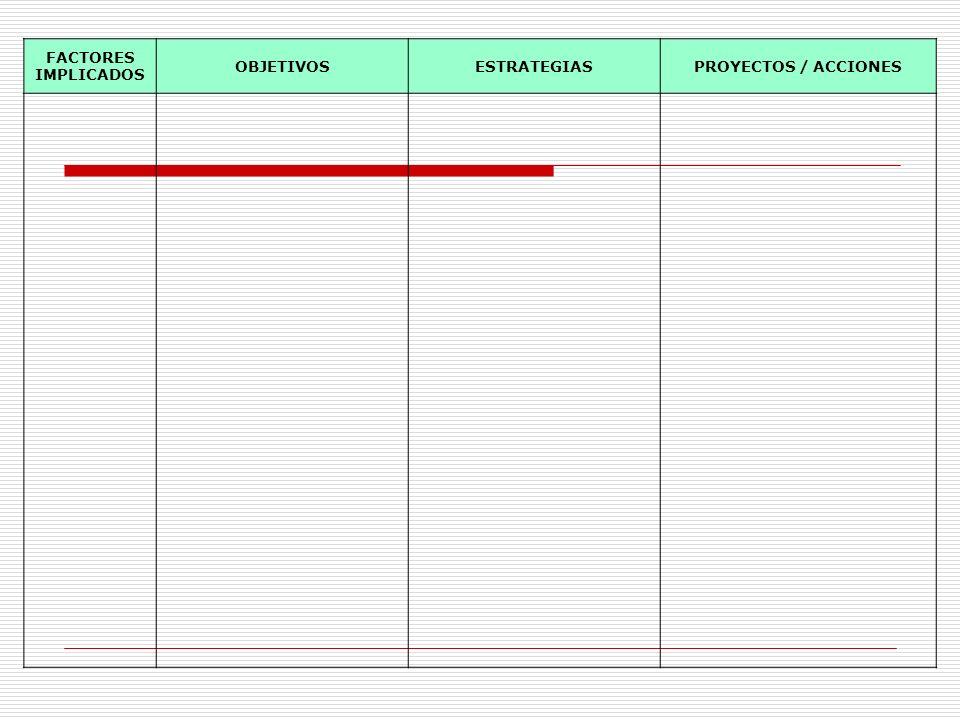 FACTORES IMPLICADOS OBJETIVOSESTRATEGIASPROYECTOS / ACCIONES